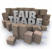 Fair Trade Words 3d Letters Cardboard Boxes Responsible Business — Stock Photo