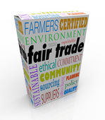 Fair Trade Product Box Package Advertising Sustainable Supply Ch — Stock Photo
