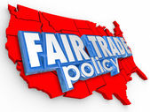 Fair Trade Poliy USA United States America Map Supply Economy — Zdjęcie stockowe