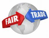 Fair Trade Arrows Around World Global Economy Living Wages Suppl — Stockfoto