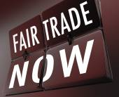Fair Trade Now Words Retro Clock Tiles Equitable Pay Living Wage — Stockfoto