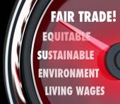Fair Trade Speedometer Measuring Import Export Equity Products — Stock Photo