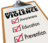 How to Stop Violence Checklist Awareness Education Prevention — Stock Photo
