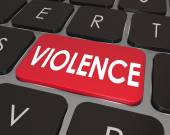 Violence Red Computer Keyboard Key Button Online Danger — Stock Photo