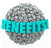 Benefits Rewards Compensation Word 3d Letters Ball Sphere — Stock Photo