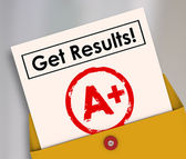 Get Results Report Card Student Letter Grade A plus — Stock Photo