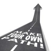 Make Your Own Path Words 3D Road Success Unique Challenge — Stock Photo