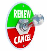 Renew Vs Cancel Words Product Service Renewal Cancellation — Stock Photo