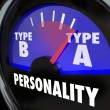 Type A Personality words on a gauge with needle pointing to the diagnosis — Stock Photo #59571103