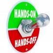 Hands On Vs Off words on a toggle switch — Stock Photo #59571125