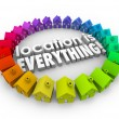 Location is Everything 3d words surrounded by colored houses — Stock Photo #59572041