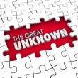 The Great Unknown 3d words in a puzzle piece hole — Stock Photo #59572149