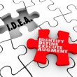 Idea acronym meaning Identify Define Execute Agument words on a puzzle piece — Stock Photo #59572259