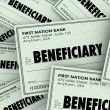 Beneficiary word on checks — Stock Photo #59573815