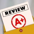 Review word and A Plus grade on a report card — Stock Photo #59574377