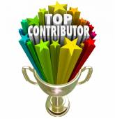 Top Contributor 3d words in a gold trophy — Stock Photo