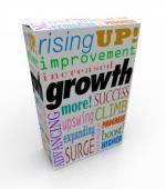 Growth words on product package or box — Stock Photo