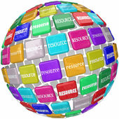 Resource word on tiles in a globe or sphere — Foto de Stock