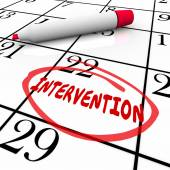 Intervention word circled on a calendar — Stock Photo