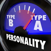 Type A Personality words on a gauge with needle pointing to the diagnosis — Stock Photo