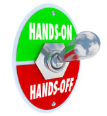 Hands On Vs Off words on a toggle switch — Stock Photo