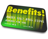 Benefits word on a green credit card — Zdjęcie stockowe