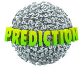Prediction words in 3d letters on a ball or sphere — Stock Photo