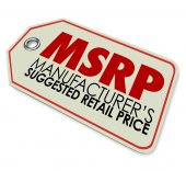 MSRP acronym or abbreviation on a store price stag — Stock Photo