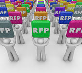 RFP people or customers holding tiles — Foto de Stock