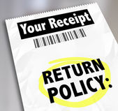 Return Policy words on a store receipt — Stockfoto