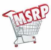 MSRP 3d red letters abbreviation in a shopping cart — Stock Photo