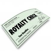 Royalty Check words on paper money — Stock Photo