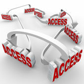 Access word in red 3d letters connected by arrows — Stock Photo