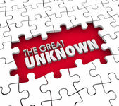 The Great Unknown 3d words in a puzzle piece hole — Stock Photo