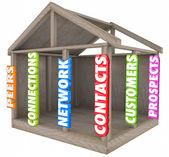 Kontakter, kontakter, nätverk och kunder ord — Stockfoto