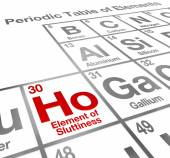 Ho Element of Sluttiness words on a periodic table — Stock Photo