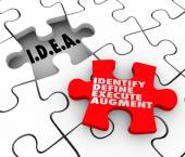 Idea acronym meaning Identify Define Execute Agument words on a puzzle piece — Stock Photo