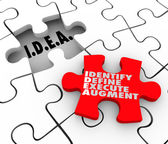 Idea acronym meaning Identify Define Execute Agument words on a puzzle piece — Stockfoto