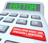 EBITDA word in digital letters on a calculator display — Stock Photo
