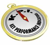 Key Performance Indicator words and acronym KPI on a golden compass — Stock Photo