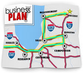 Business Plan words on a road map directing you to success — Stock Photo