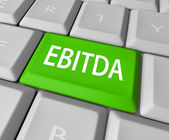EBITDA word acronym on a computer keyboard key — Stock Photo
