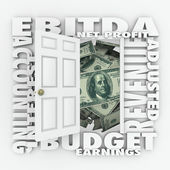 EBITDA word acronym on an open door — Stock Photo