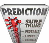 Prediction word on a 3d thermometer — Stock Photo