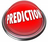 Prediction word on a red button — Stock Photo