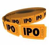 IPO initial public offering acronym letters on a roll of raffle tickets — Stock Photo