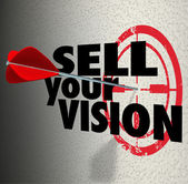 Sell Your Vision words on a wall with target and arrow — 图库照片