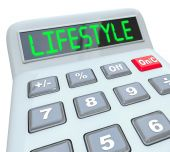 Lifestyle word on calculator display — Stock Photo