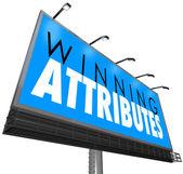 Winning Attributes words on a billboard — Stock Photo
