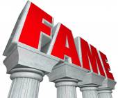 Fame word in 3d marble letters on stone columns — Stock Photo